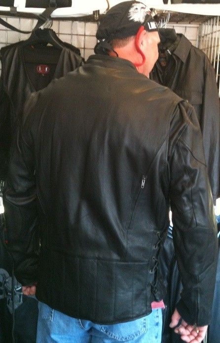 Leather motorcycle jacket tall