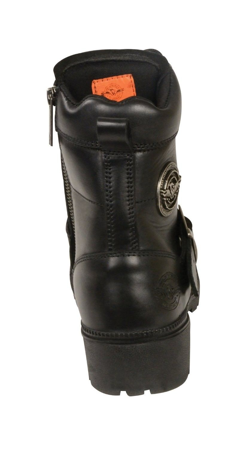 Milwaukee Leather Womens Boots With Lace Front And Zip Closure